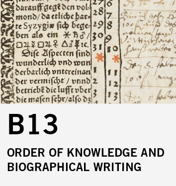 B13: The order of knowledge and biographical writing. Calculated handwriting in printed books of the early modern period (16th and 17th century)